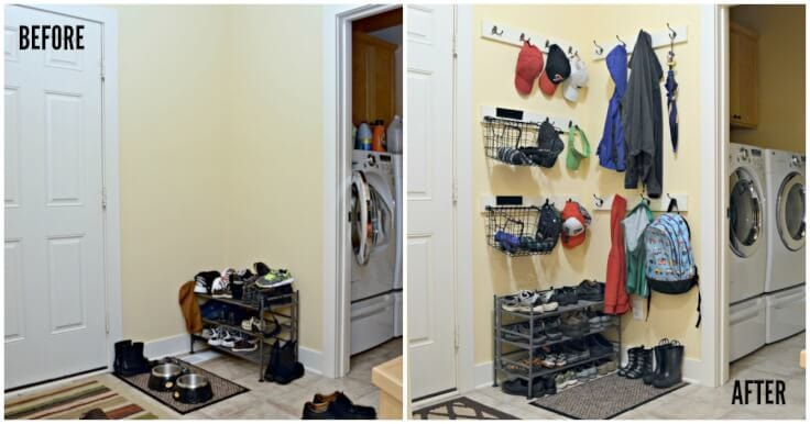 Adding Coat Hooks, Hat Racks And Baskets To A Mudroom Or Back Hallway Is A