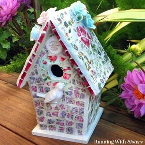 Make a Broken China Mosaic Birdhouse. We'll show you to cut china plates with tile nippers, how to mix grout, and how to mosaic a birdhouse.