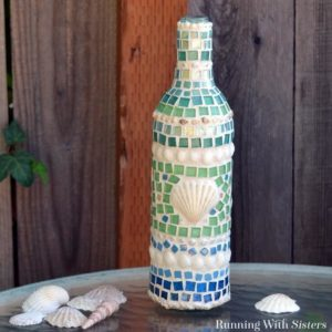 Mosaic Wine Bottle: How To Mosaic With Tiles & Shells
