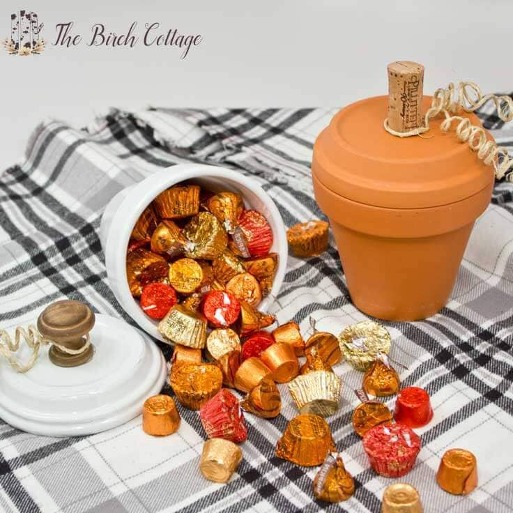 How to make Pumpkin Candy Dishes from Terra Cotta Pots by The Birch Cottage