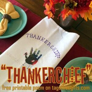 Thankerchief Craft; Free Printable Poem by Trish Sutton