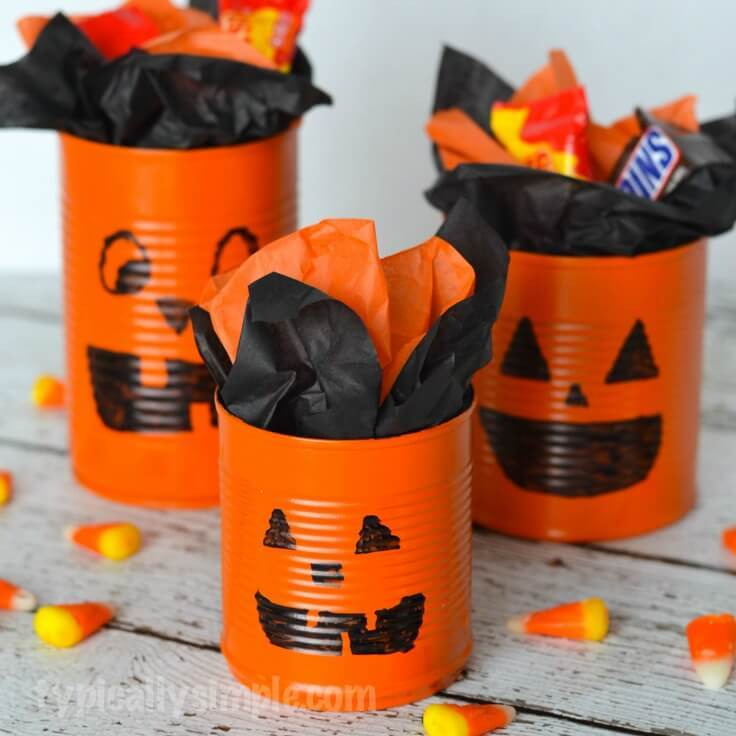 tin can pumpkin craft tin can pumpkins craft tutorial an easy idea 5586