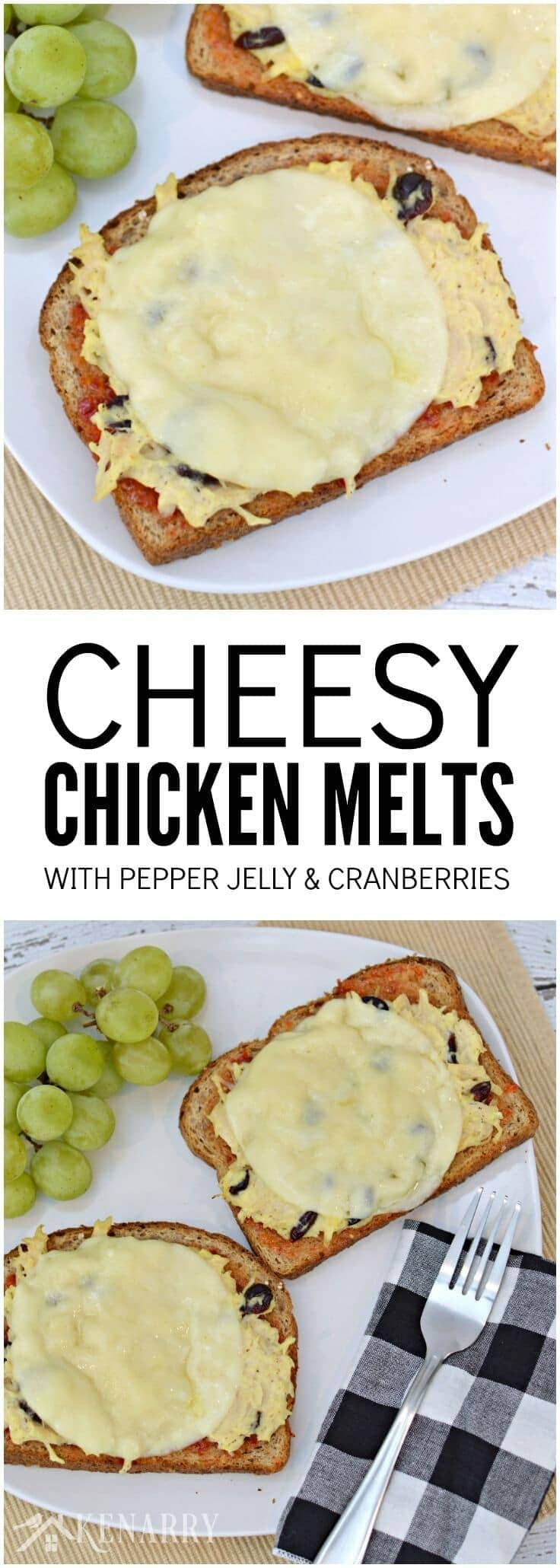For an easy weeknight dinner idea, make this cheesy chicken melts recipe with canned chicken, red pepper jelly, dried cranberries and 100% real, natural sliced cheese from Sargento. #RealCheesePeople #ad