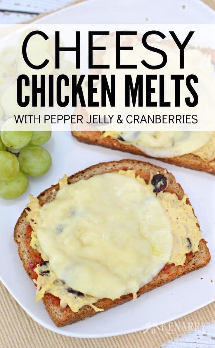 Cheesy Chicken melts with pepper jelly and cranberries