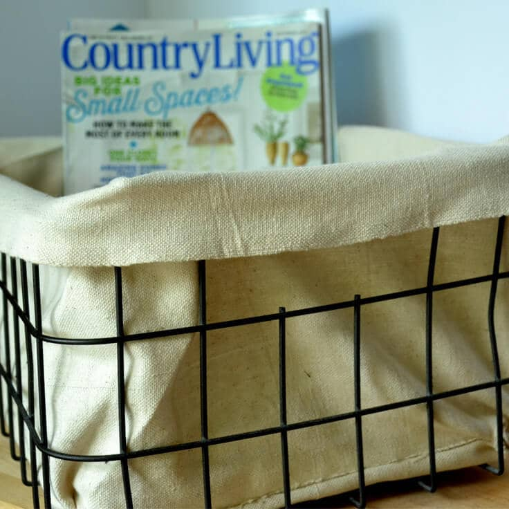 DIY Fabric Lined Industrial Basket