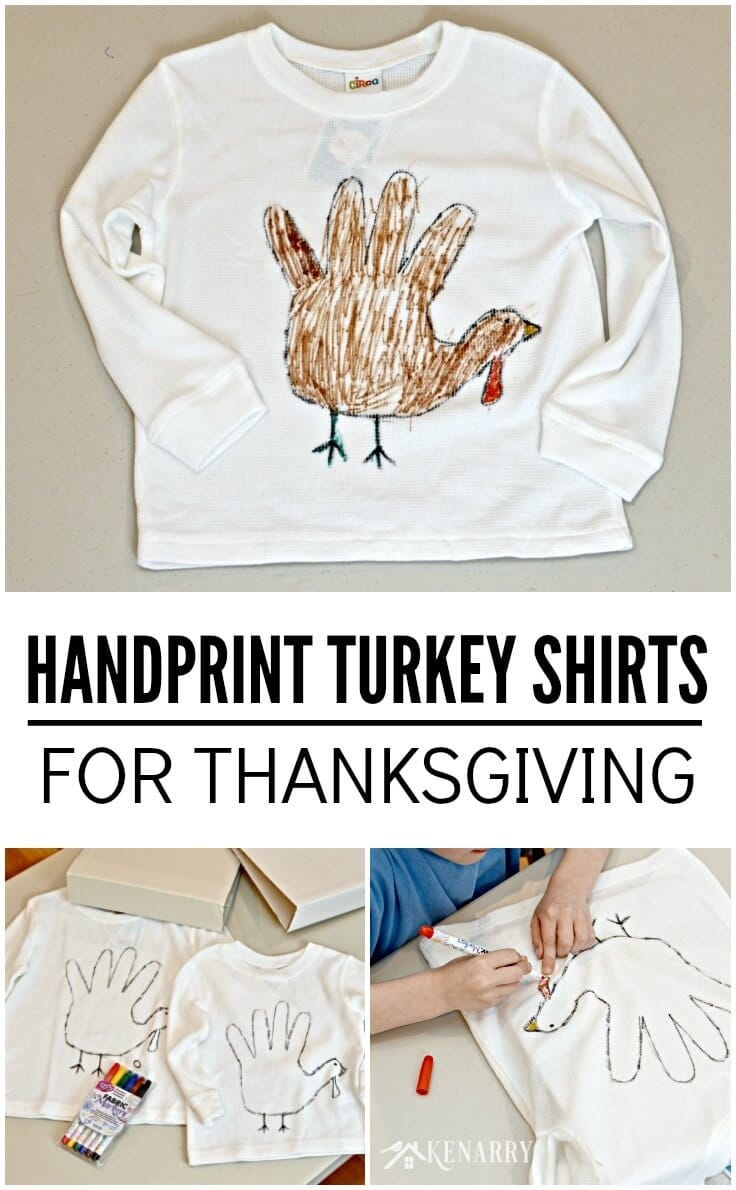 My children would love this fun craft idea! These handprint turkey shirts would be cute for the kids to make at Thanksgiving.