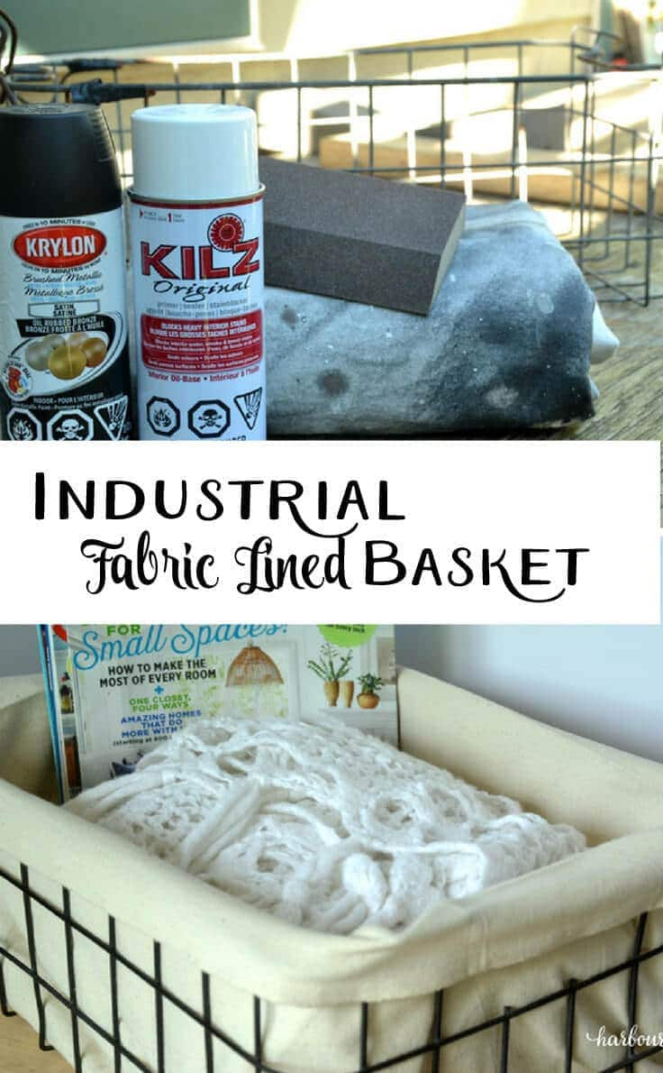 Turn a rusty old basket into a pretty industrial decor piece using spray paint and fabric. This easy tutorial will show you how!