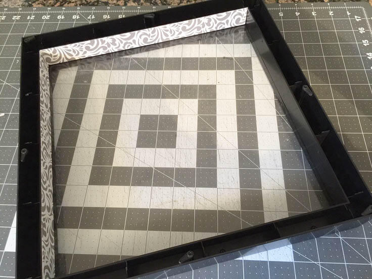 DIY shadow box initial art with paper