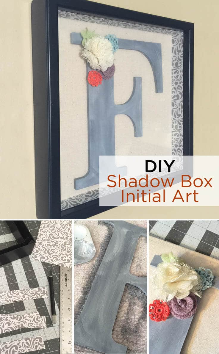 DIY shadow box initial art