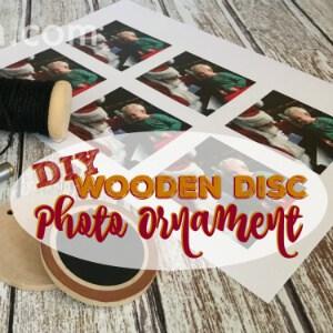 DIY Wooden Disc Photo Ornament by Trish Sutton
