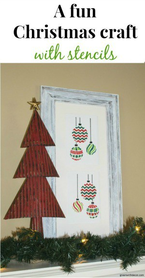 A Christmas craft with a stencil and an old frame