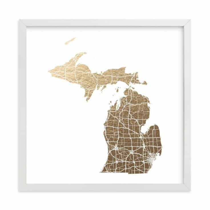 Michigan Map Art - Minted