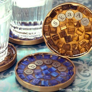 Mosaic Cocktail Coasters from The O'Neil Sisters - RunningWithSisters.com