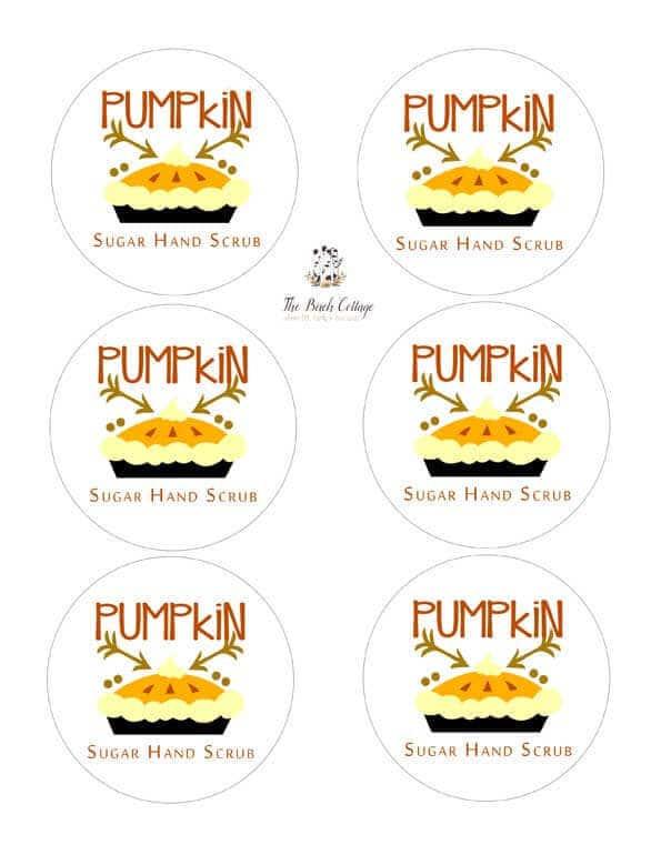 Printable Labels for Vanilla Pumpkin Pie Spice Sugar Scrub by The Birch Cottage