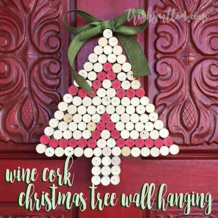 wine cork christmas tree wall hanging upcycled holiday decor by trish sutton