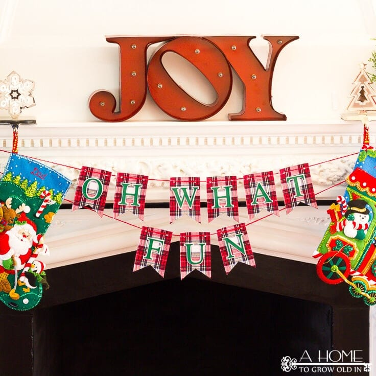 Easy DIY Holiday Banner for Your Mantel