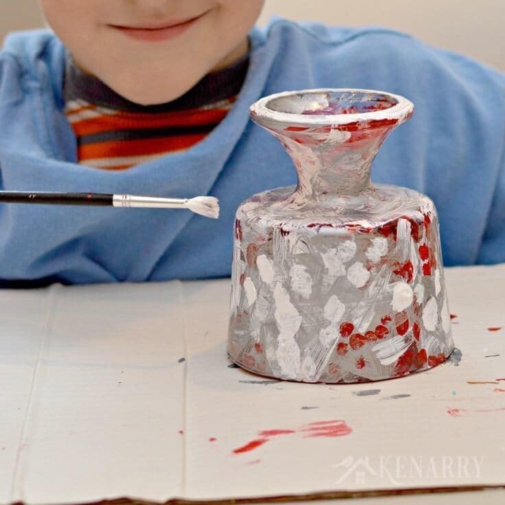 Kids will love making this holiday candy dish as a Christmas gift for their teachers, grandparents and other loved ones. It's an easy hand painted craft they can paint themselves with a little supervision.