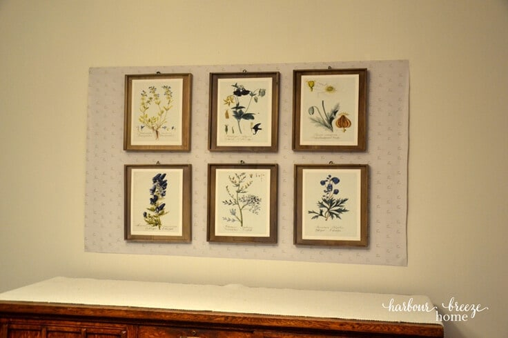 How to Hang a Gallery Wall using Gift Wrap