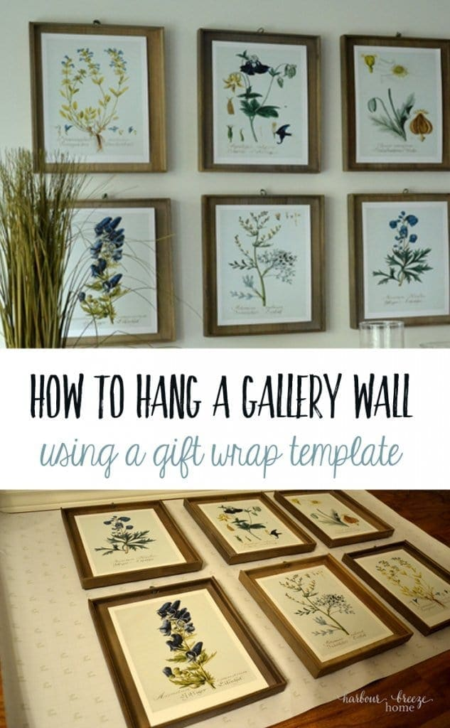 How to Hang a Gallery Wall using a gift wrap template