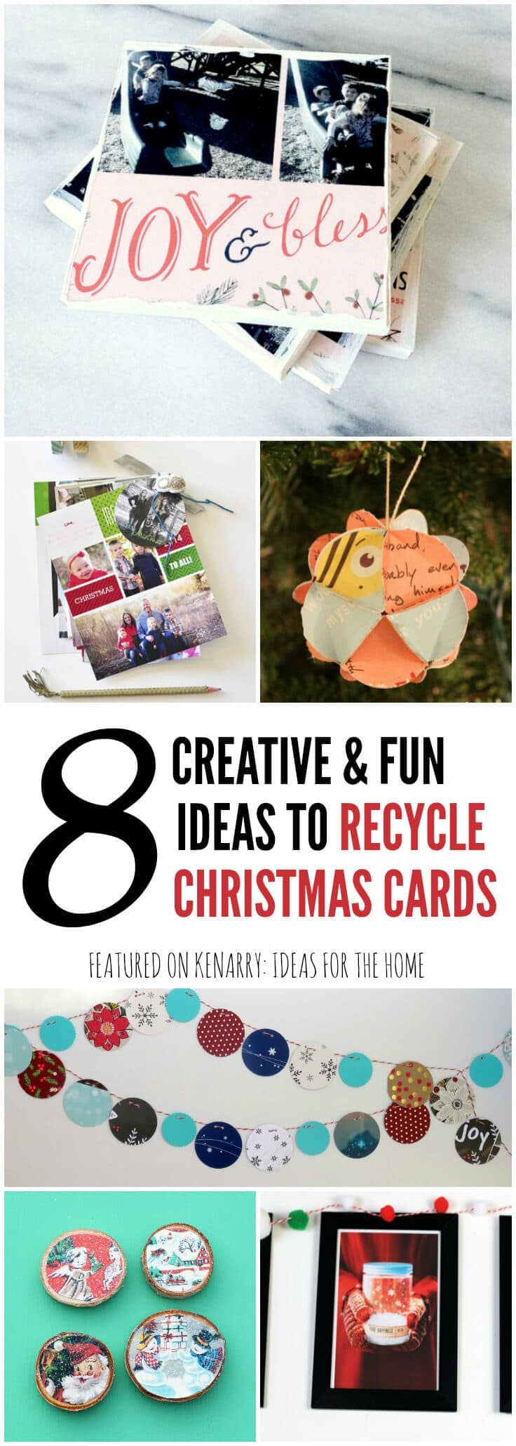 What fun ways to recycle Christmas cards to use for crafts and decor! Use any of these 8 ideas to upcycle your holiday cards and continue to enjoy them long after the season is over.