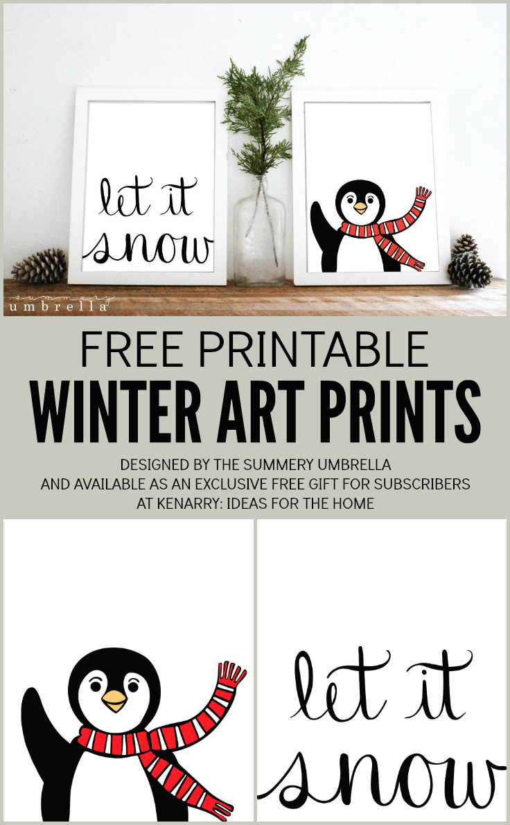 I just love this free printable Let It Snow and Penguin winter artwork designed by The Summery Umbrella for Kenarry.com! It would be a beautiful way to decorate your home for the holidays or to frame as a Christmas gift for a loved one.