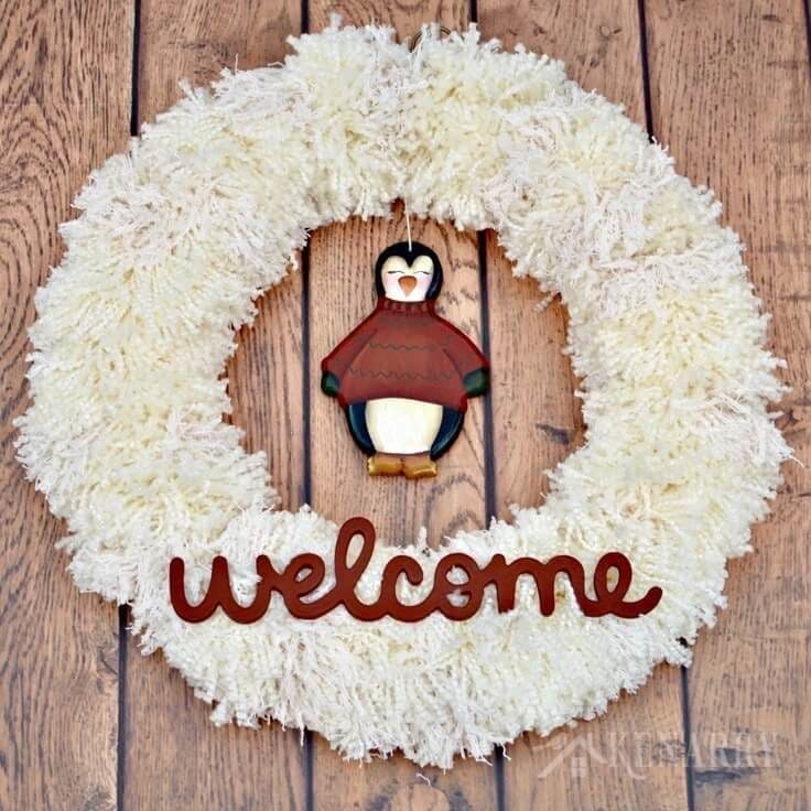 Home Decor Craft Ideas Pinterest: Winter Yarn Wreath With Penguin: An Easy Craft Idea