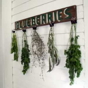 Herb Drying Rack Using an Old Sign and Binder Clips