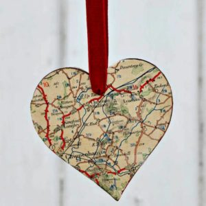 Gorgeous Heart Map Ornaments
