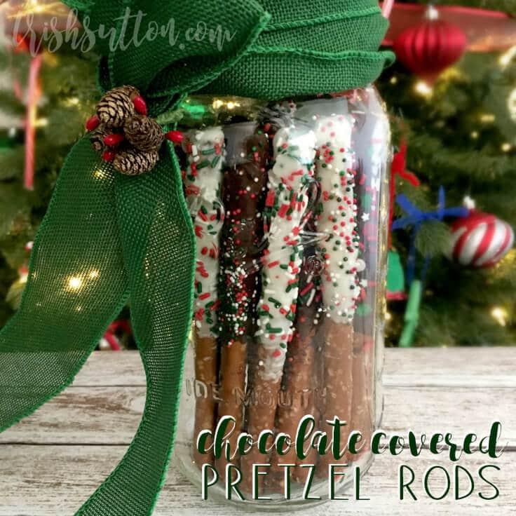 Chocolate Covered Pretzel Rods Holiday Gift; TrishSutton.com