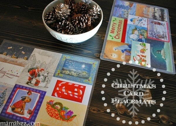 How to Recycle Old Christmas Cards Into Festive Placemats - Adventures of Mel featured on Kenarry.com