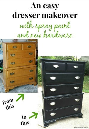 An easy dresser makeover with spray paint and new hardware