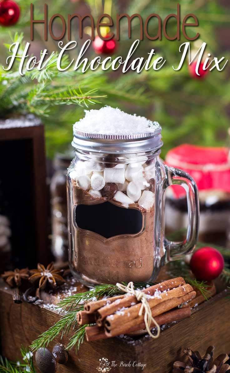 Homemade Hot Chocolate is more than just a beverage, it's a great last minute DIY Christmas gift idea! This easy homemade recipe mix in a jar with printable labels and tags makes a fun gift to give out to teachers, neighbors, and the unexpected guest! #hotchocolate #homemadegifts #kenarry