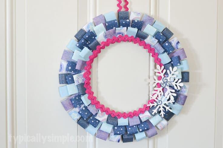 Scrapbook Paper Winter Wreath Diy Craft Tutorial