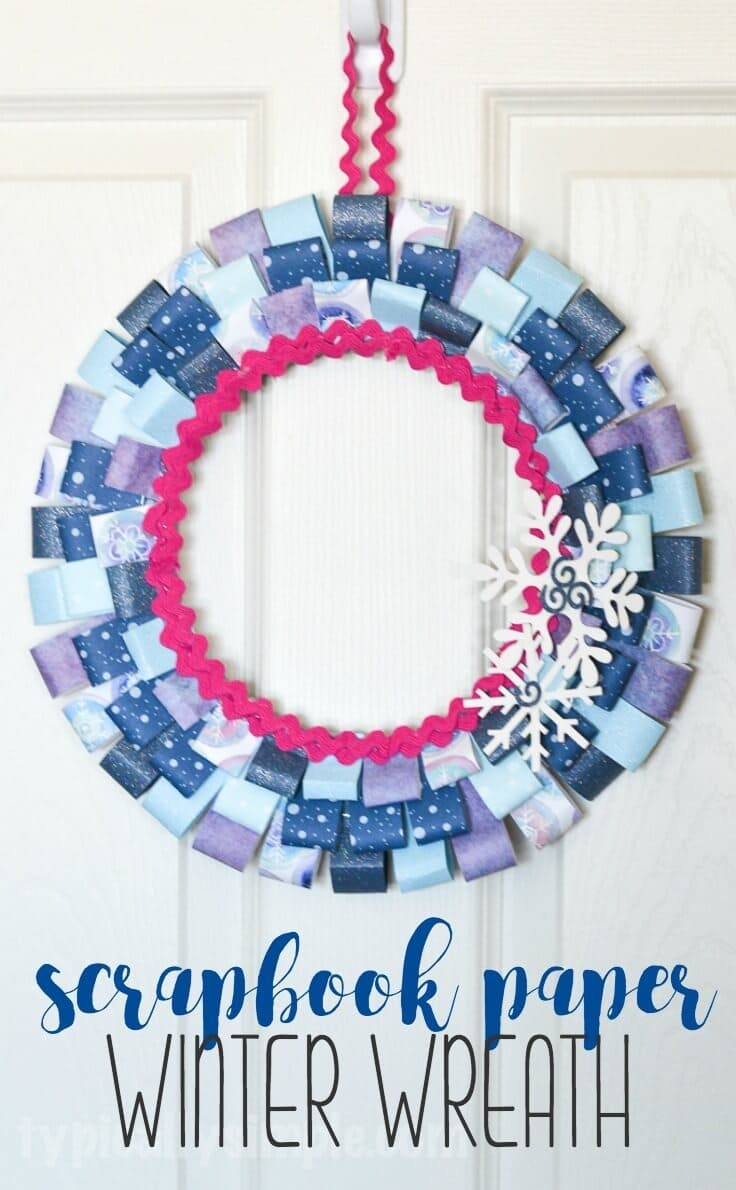 With just a few basic craft supplies and some paper from your scrapbooking stash, make this paper wreath to decorate your home for winter!