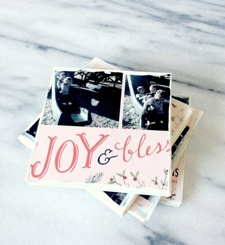 What to Do With All Those Christmas Cards? DIY Coasters - Kraft & Mint featured on Kenarry.com