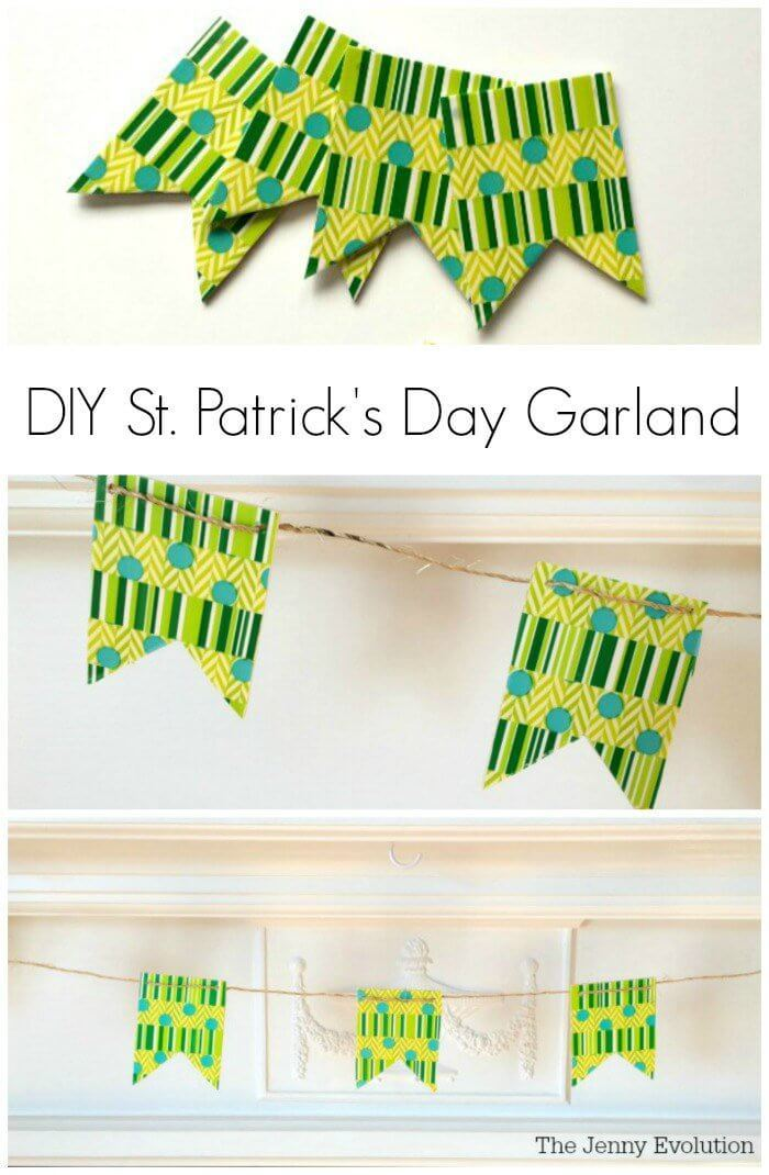 DIY Saint Patrick's Day Banner – The Jenny Evolution - St. Patrick's Day Home Decor Ideas featured on Kenarry.com