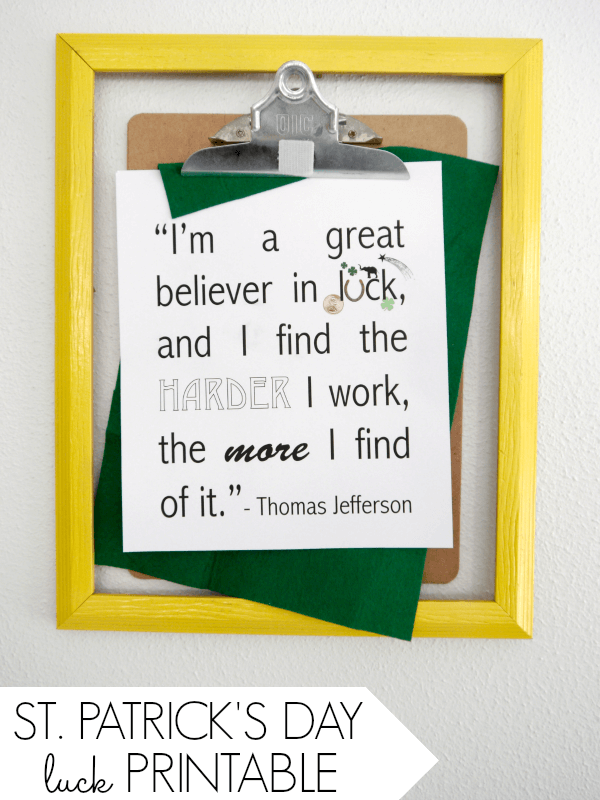 Luck Quote {Free Printable} – Creating Really Awesome Free Things (C.R.A.F.T.) - St. Patrick's Day Home Decor Ideas featured on Kenarry.com
