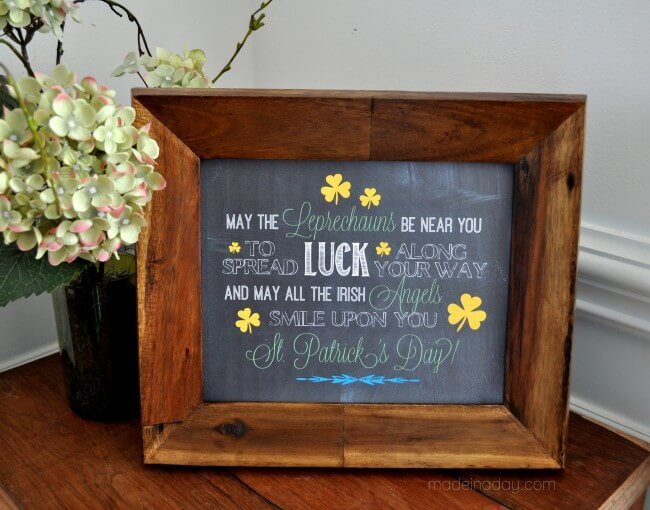 Irish Blessing Chalk Art Free Printables – Made in a Day - St. Patrick's Day Home Decor Ideas featured on Kenarry.com