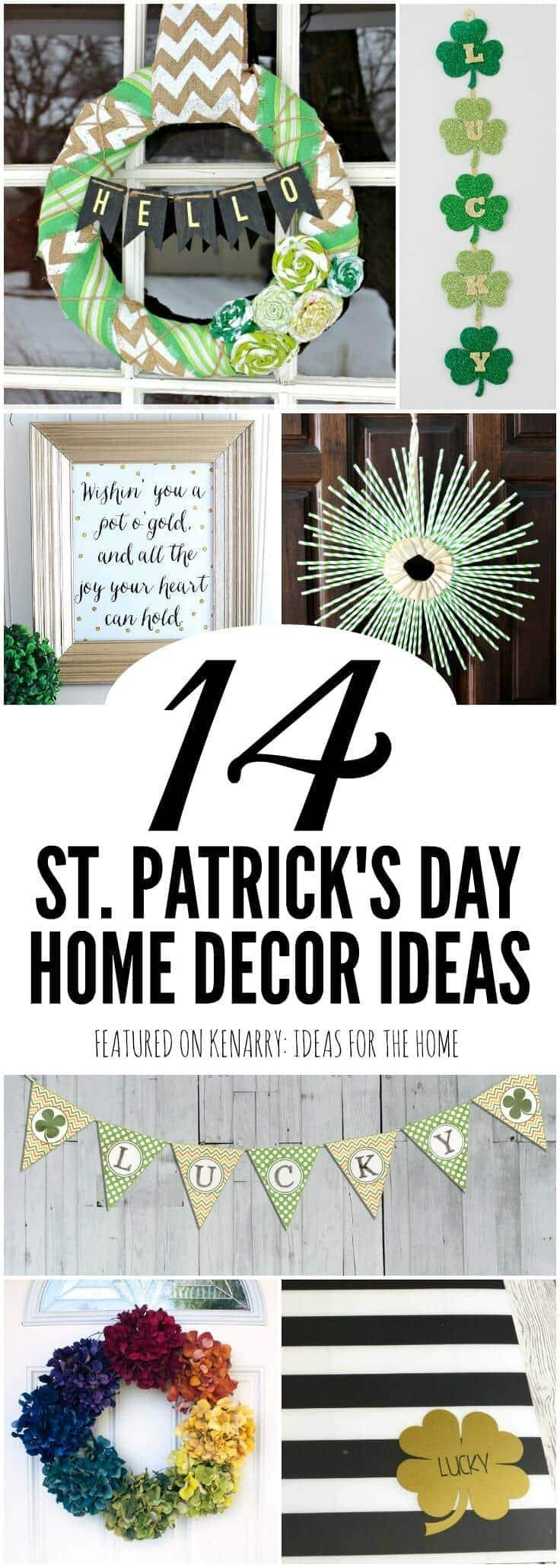 Love these easy ideas for crafts and free printables you can use for St. Patrick's Day home decor including wreaths, placemats, banners and more adorned with shamrocks and green decorations.