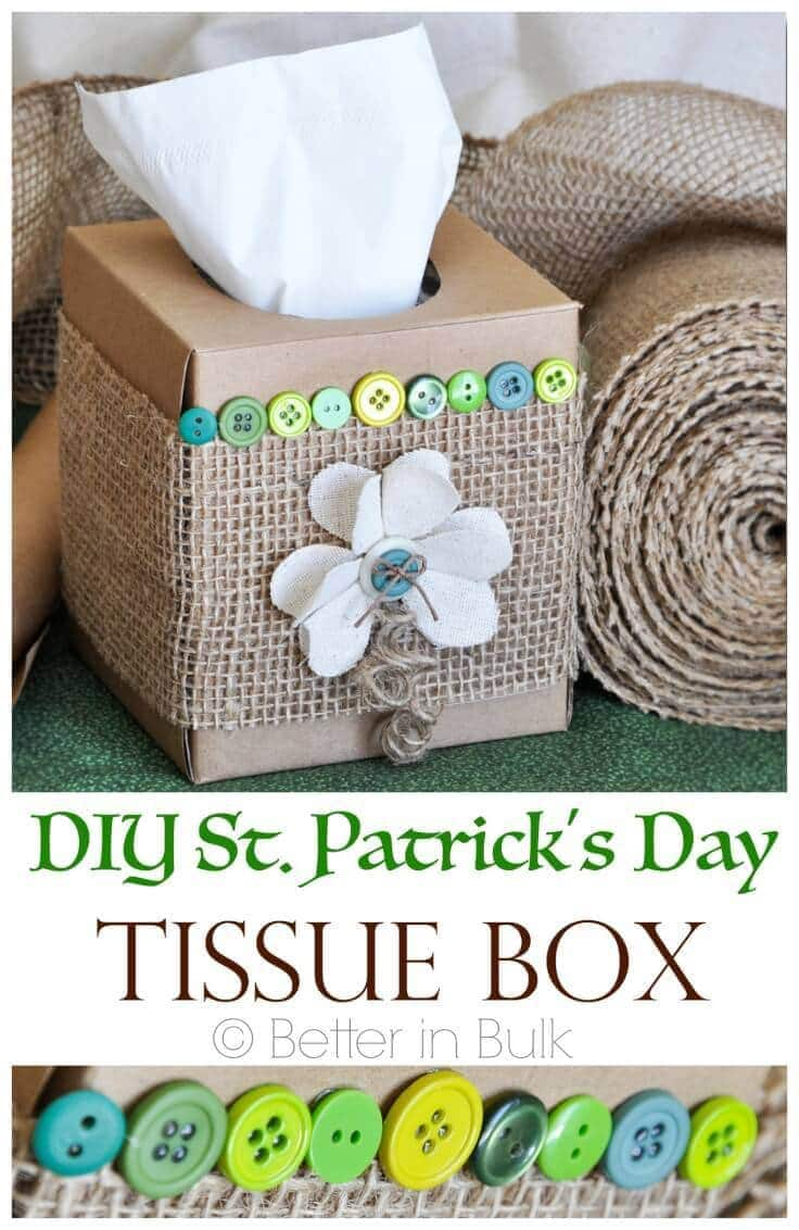 DIY St. Patrick's Day Tissue Box Make-Over – Food Fun Family - St. Patrick's Day Home Decor Ideas featured on Kenarry.com