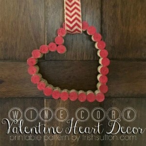 Wine Cork Valentine Heart Decor Printable Pattern; TrishSutton.com