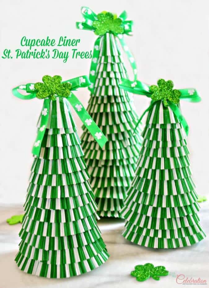 Cupcake Liner St. Patrick's Day Trees – Little Miss Celebration - St. Patrick's Day Home Decor Ideas featured on Kenarry.com