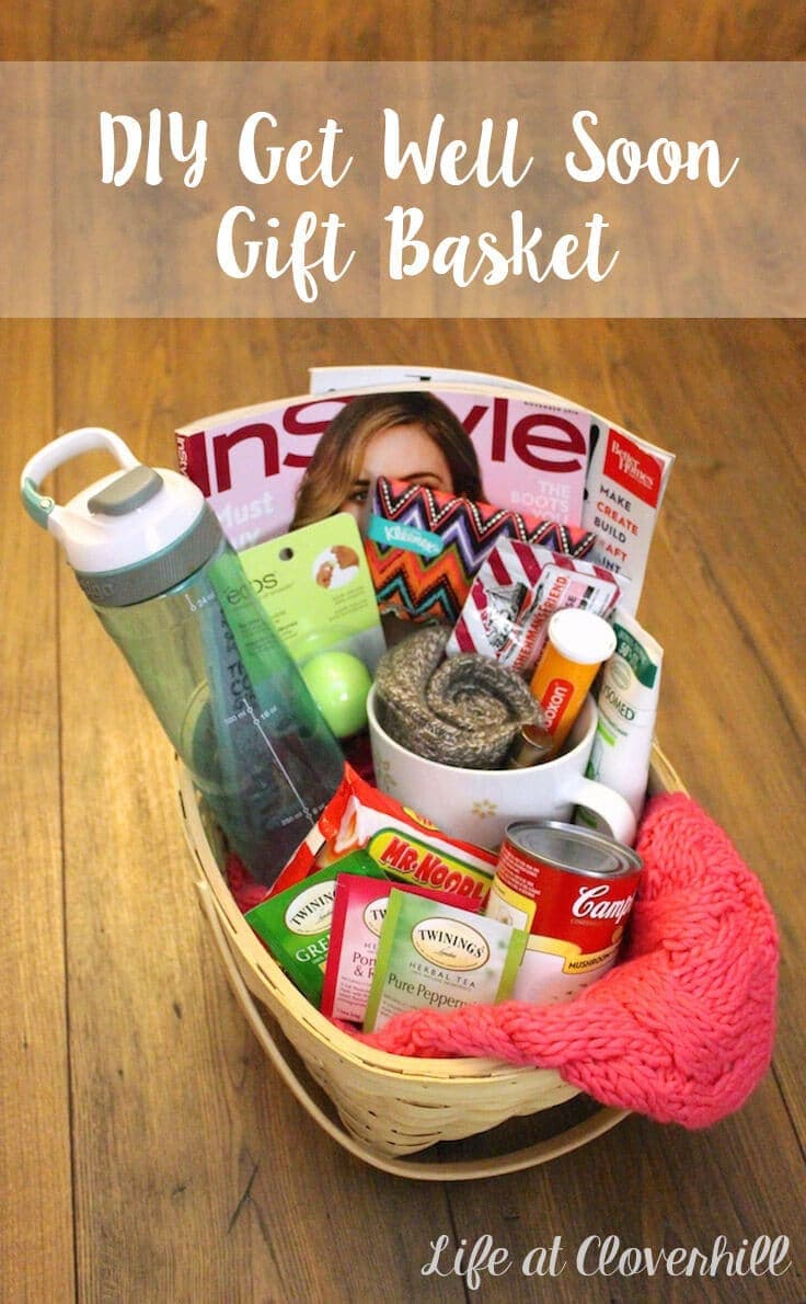 diy get well soon gift basket for friends and family who are sick. Black Bedroom Furniture Sets. Home Design Ideas