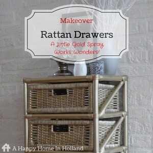 Rattan Furniture Makeover Using Gold Spray Paint