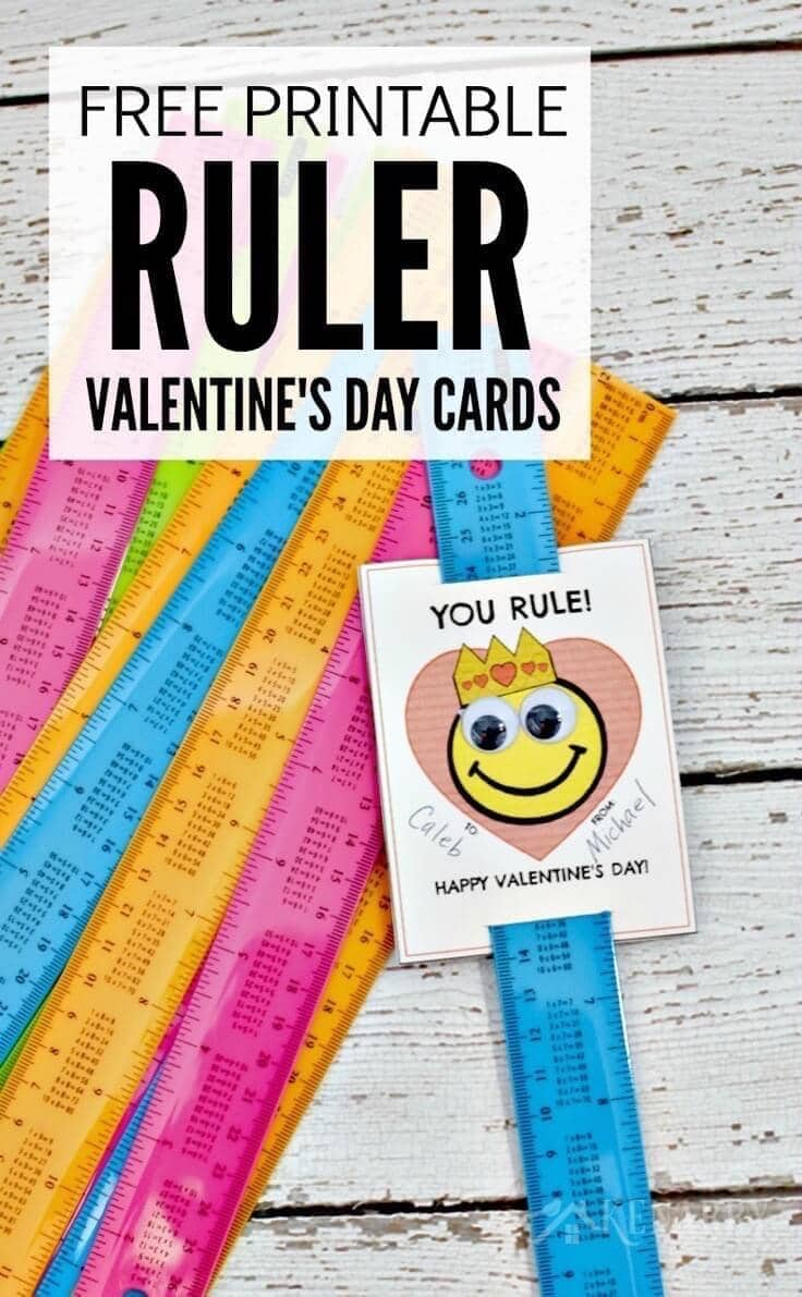 picture relating to Free Printable Ruler known as Ruler Valentines: No cost Printable Valentines Working day Card for Small children