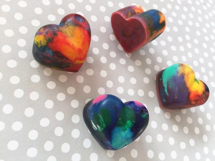 heart-shaped crayons