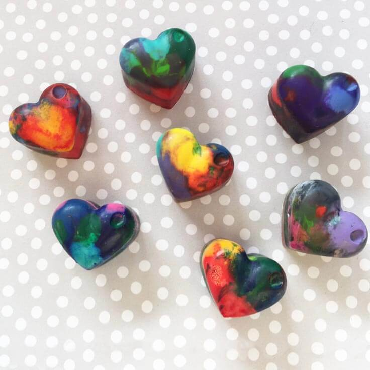 Homemade Heart Shaped Crayons