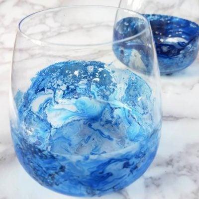 diy marbleized wine glasses