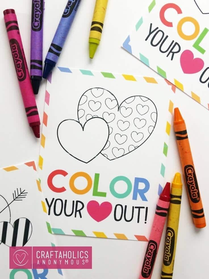Color Your Heart Out – Craftaholics Anonymous - Free Printable Valentines featured on Kenarry.com