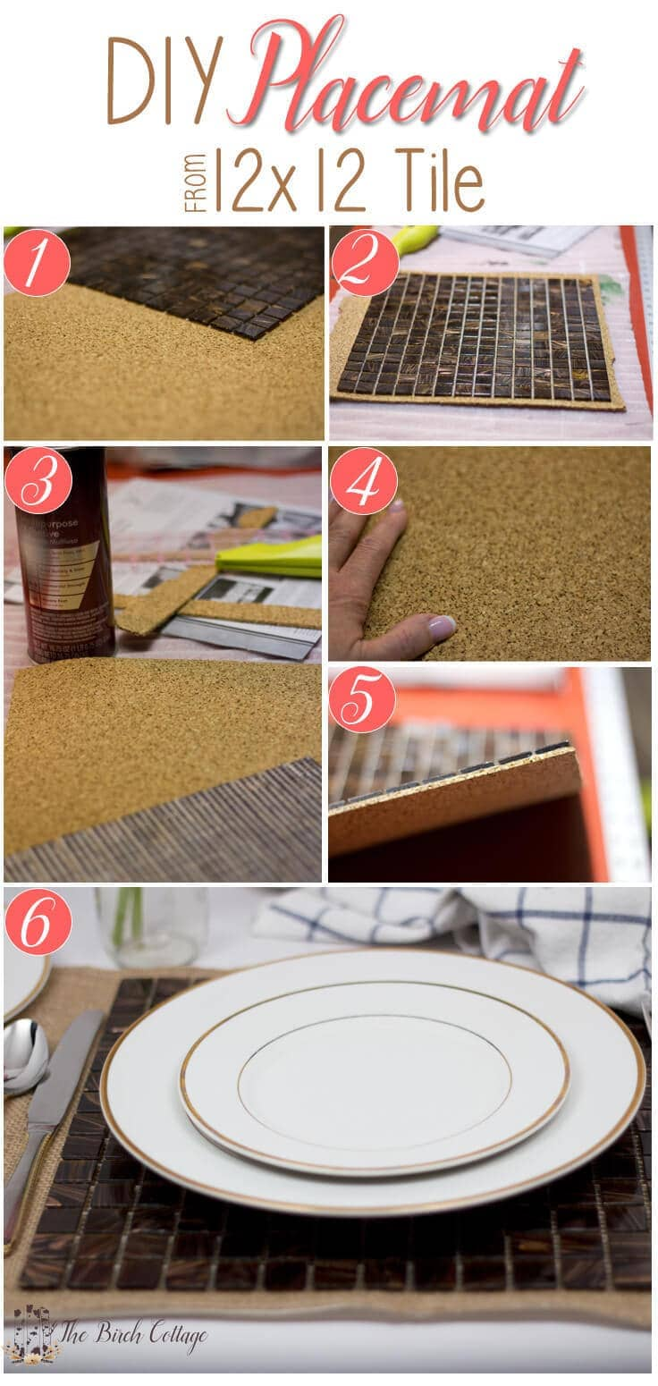 How to make a DIY placemat from a 12x12 tile